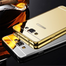 Luxury Metal + Mirror Acrylic Case For Samsung Galaxy Grand Prime G530 G530W Mobile Phone Cover Protective Back Cases(China (Mainland))