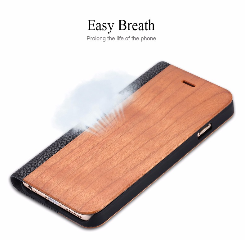 Vintage Genuine Bamboo Wood Flip Leathe Case For iPhone 6 6S Plus Real Rosewood Wooden Wallet Cover For iPhone 7 7 Plus Card Slot  (4)
