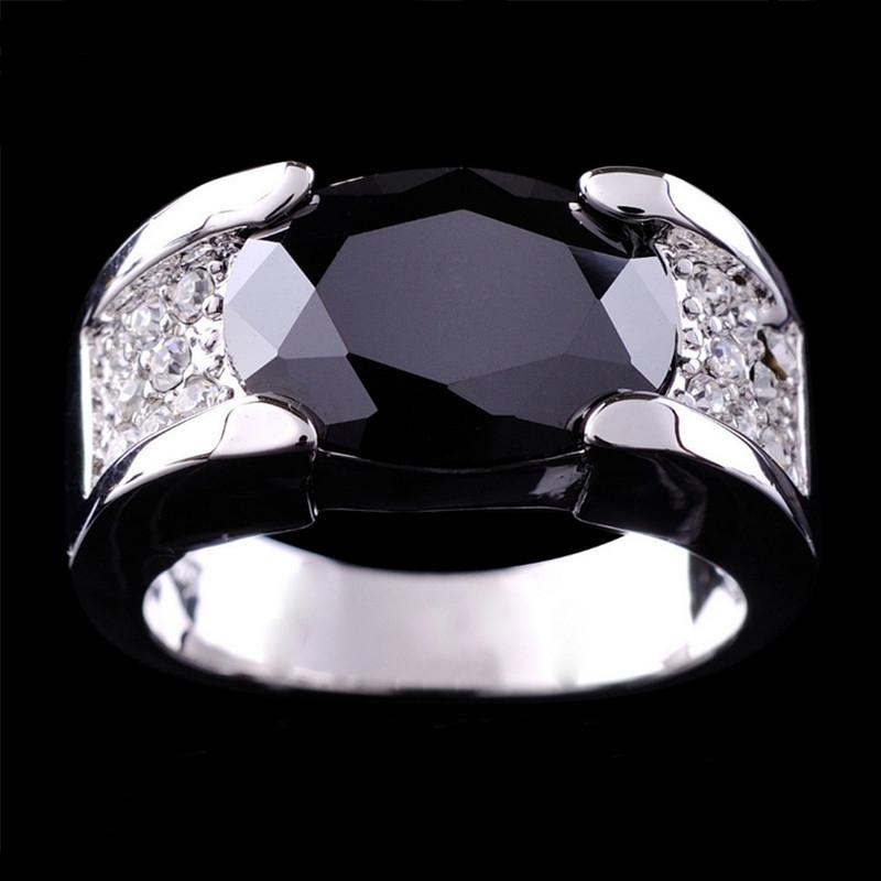 Jewelry Black/Green/Orange Sapphire Men's 10KT White Gold Plated White Ring women Ring size9/10/11/12(China (Mainland))