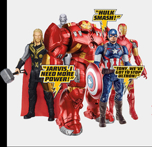 The Avengers 2 Hulk Iron Man Captain America Thor Spiderman PVC Action Figure Model Auto sound and flash light Toy Superhero
