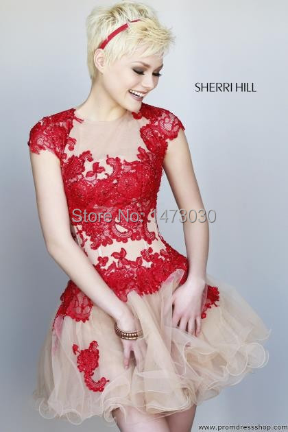 Fashion Sexy Cap Sleeve Red Lace Appliques Champagne Organza Skirt Hot Prom Dresses Shop Party 2015 B196 - SuZhou Winner Queen Wedding Factory store