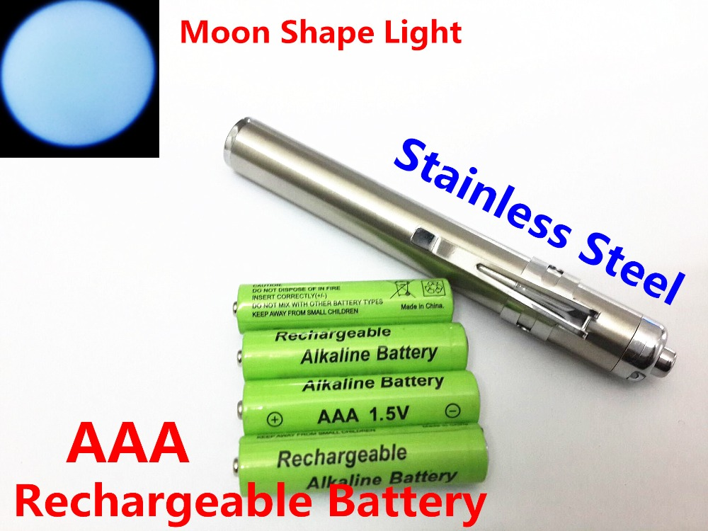 4 AAA 1.5v Rechargeable Battery + Mini Silver Moon Shape Light XML CREE Shock Resistant LED Flashlight Stainless Steel Penlight(China (Mainland))