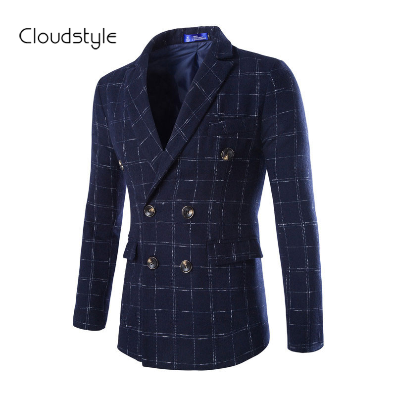 2015 New Men Suit Autumn Winter Double-breasted Fashion Slim Fitness Suits with Plaid  Terno 4 Colors Plus Size M-2XLОдежда и ак�е��уары<br><br><br>Aliexpress