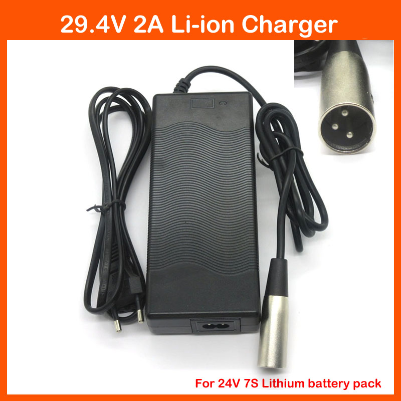 24V 2A charger Output 29.4V 2A Input 100-240 VAC XLRM port Li-ion Charger For 7S 24V Electric Bike Lithium Battery(China (Mainland))