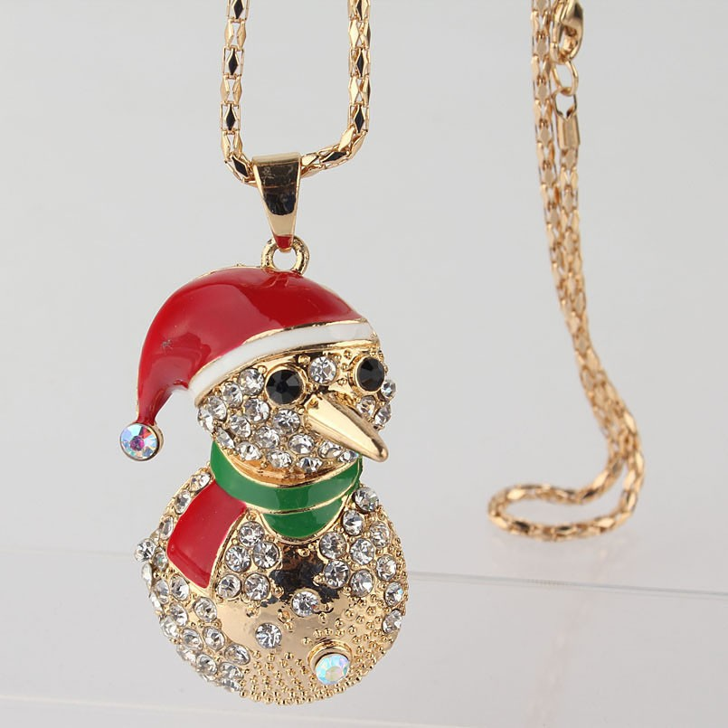 Birthday Gift 18k Gold Plated Austrian Crystal Cute Clown Pendant Necklace Sweater Chain Jewelry For Women 770mm Free Shipping(China (Mainland))