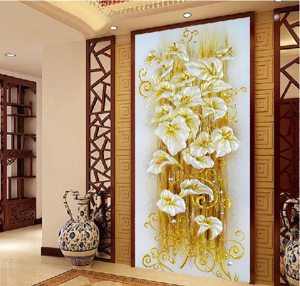 5D Diamond painting round rhinestones needlework diamond embroidery Beautiful Lily diamond mosaic crafts diamond paint 50*90cm(China (Mainland))