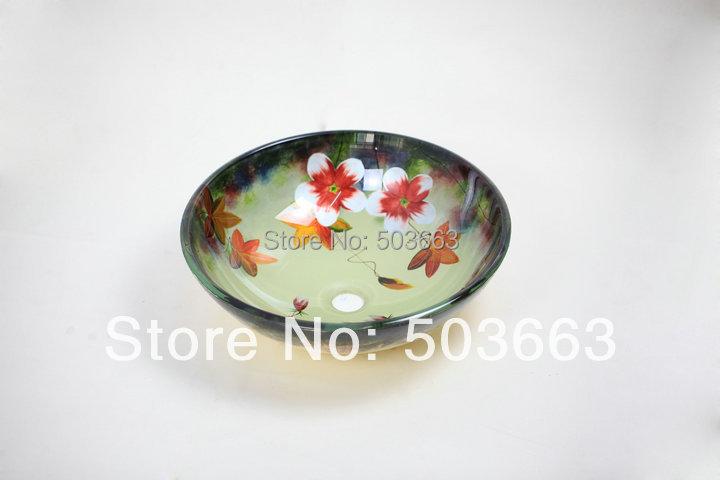 Flower Artistic Victory Vessel Wash Basin Tempered Glass Sink Bathroom Basin With Brass MF-761<br><br>Aliexpress