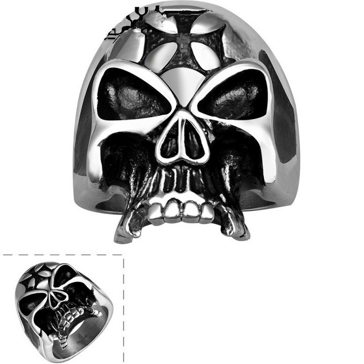 Punk ring men jewelry skull head rings for men stainless steel ring vintage mask anel party accessories new wholesale R052(China (Mainland))