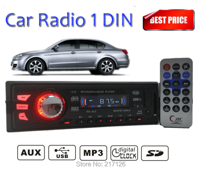 2015 NEW Car Stereo Radio player FM Receiver 12V audio auto MP3 5V Charger USB/SD card/AUX in remote control In-Dash 1 DIN size