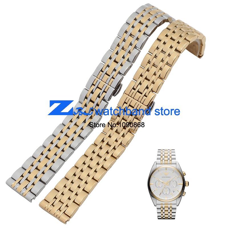 Нержавеющая сталь ремешок для часов бабочка застежка-метал наручные часы группа роуз серебряные часы пояс 14 мм 20 мм 22 мм AR0389