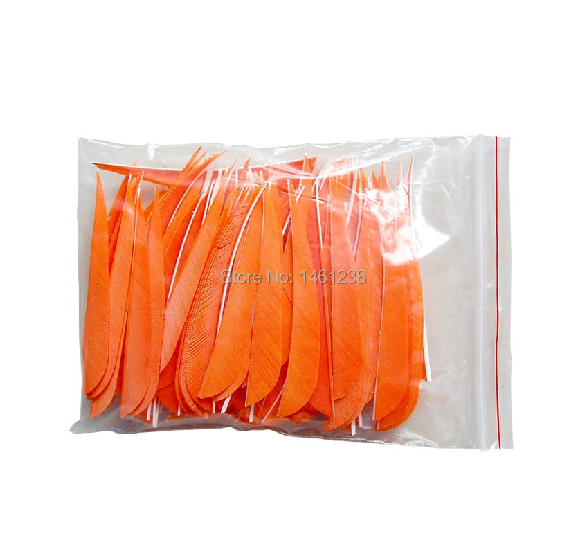 Orange left wing 4 turkey feather 100 purely DIY 50pcs archery bow and arrow hunting wood