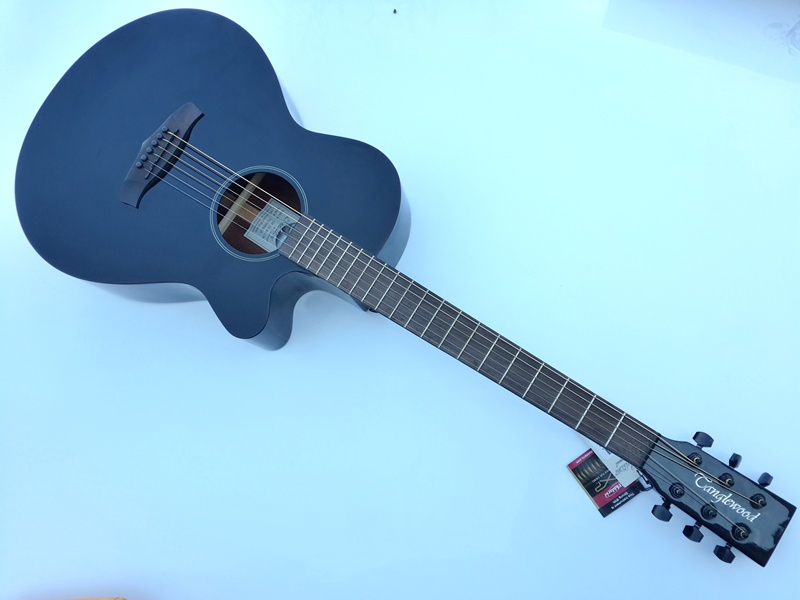 ENGLAND BRAND full black acoustic eletric guitar with tuner