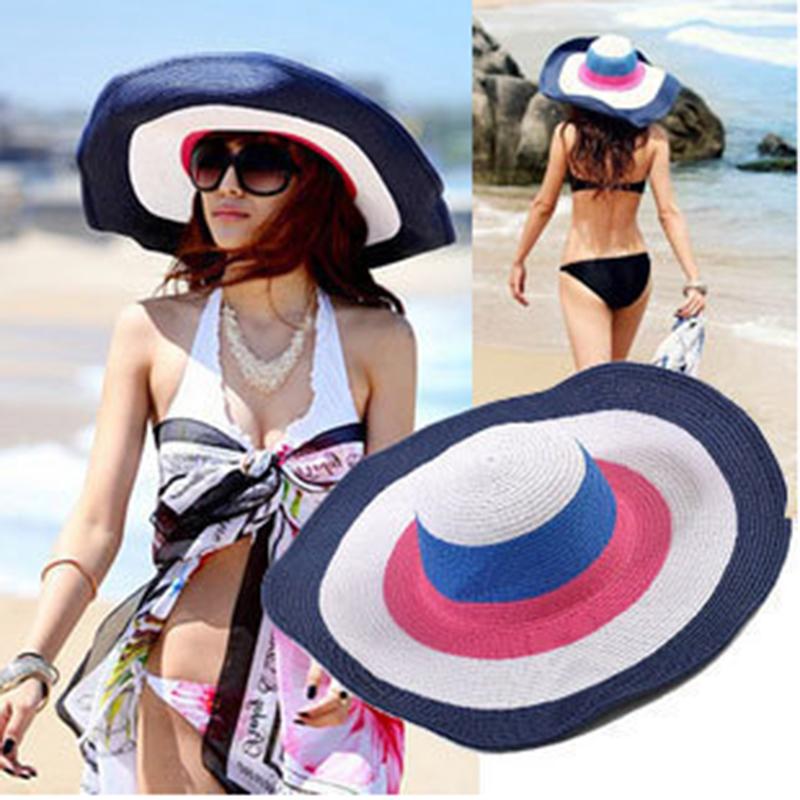 2015 Fashion Rainbow Stripes Sun Hats For Women Summer Straw Beach Cap Hats Sexy Vogue Ladies Large Brim Women Hat(China (Mainland))