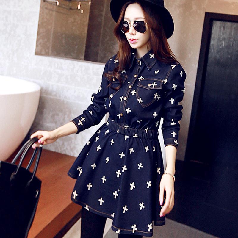 fashion women denim dresses turn-down collar long sleeve dress single-breasted cross printed slim - xue mao wang's store