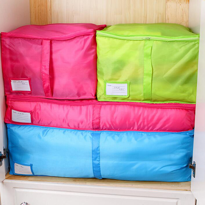 Foldable Storage Bag Clothing Quilt Bedding Duvet Zipped Handles Laundry Polyester Clothes Pillows Storage Bags Closet Organizer(China (Mainland))