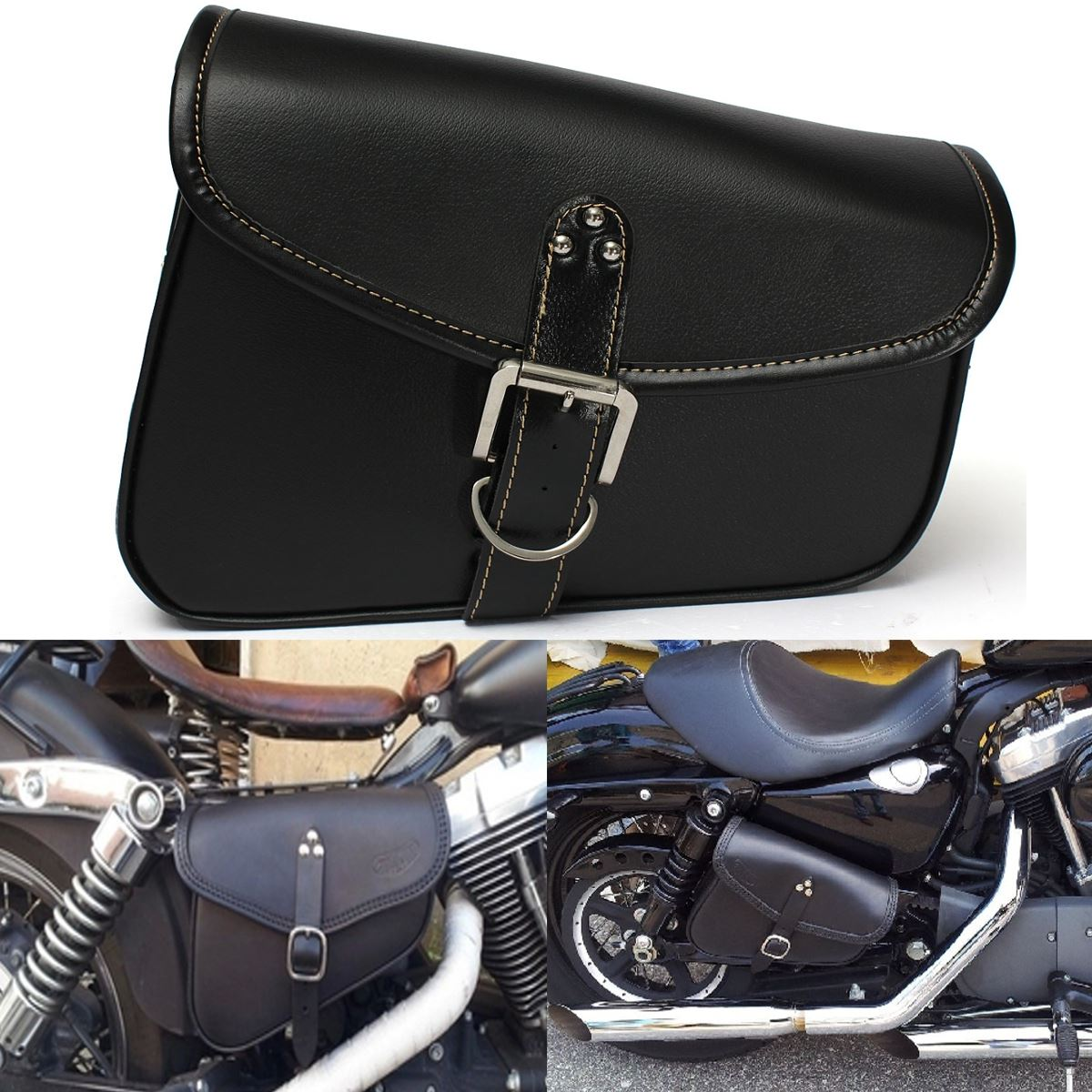 Motorcycle Pu Leather Saddlebags Saddle Tool Pouch Side