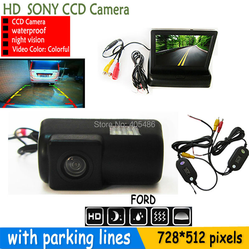 WIRELESS SONY CCD HD Car Rear View Camera With 4.3 inch Car Rearview Mirror Monitor For FORD TRANSIT CONNECT 2012 2013 2014(China (Mainland))