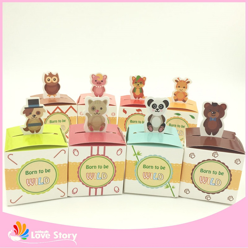 100PCS Baby Shower Favour Gift Animal Candy Boxes Wedding Favors and Gifts for Wedding Favors Gifts Free Shipping(China (Mainland))