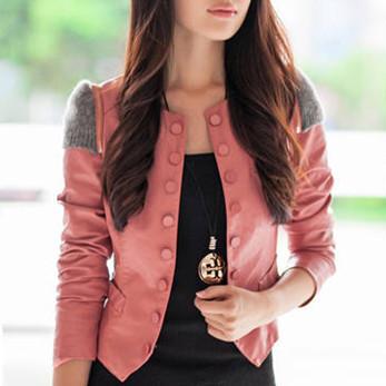 Women Casual Jacket Coat Autumn 2015 New Fashion Brand Plus Size Faux Leather Jaqueta De Couro Feminina Outerwear OL Blazer 036