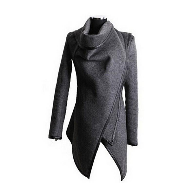 Autumn Winter Women Overcoat Long Zipper O-neck Full Pockets Solid Coats Fashion Stitching Asymmetrical Womens JacketsОдежда и ак�е��уары<br><br><br>Aliexpress