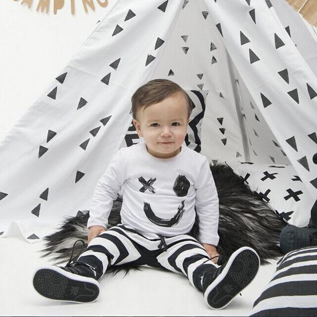 Мода одежда для новорожденных baby boy одежды костюм улыбка длинные Т рубашка и Длинные ...