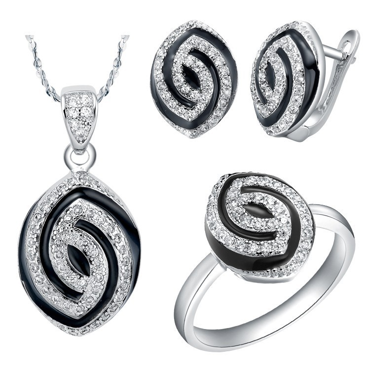 Hot Sale - Bridal Jewelry Sets Sterling Silver Jewellery Necklace Set Bijoux Crystal Earrings for Women Black Vintage Rings(China (Mainland))