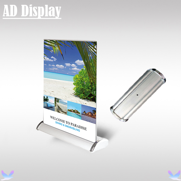 50PCS A4 Size Mini Desktop Aluminum Double Side Roll Up Banner Display Stand,Advertising Table Model Retractable Pull Up Banner(China (Mainland))
