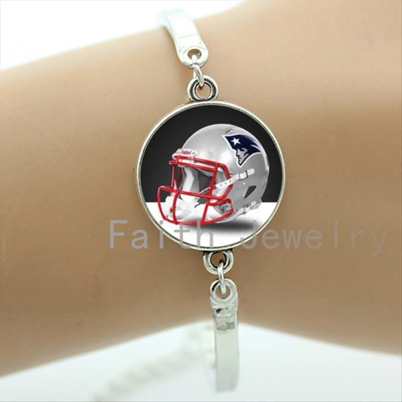 Trendy rugby sport team helmet picture bracelets case for New England Patriots team bracelet pop american football gifts NF093(China (Mainland))