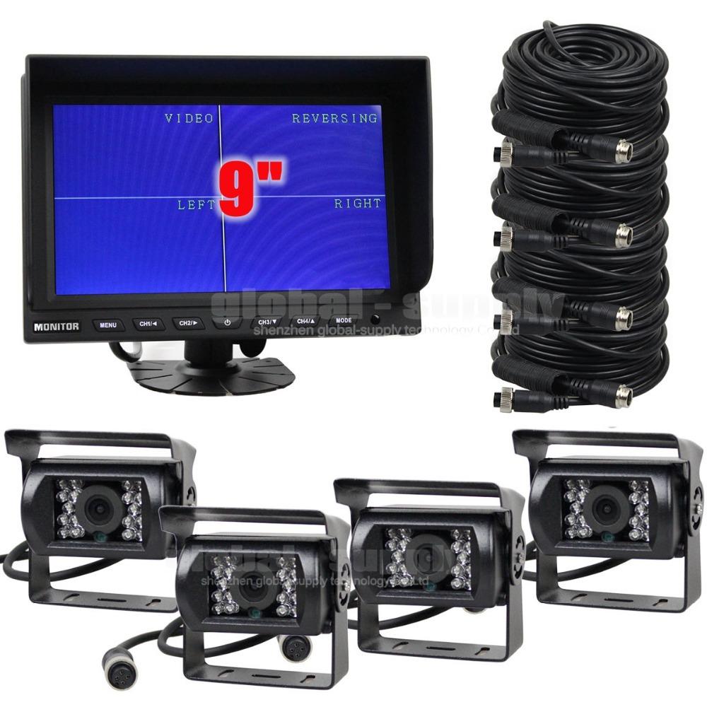 DIYSECUR DC 12V - 24V 9Inch Split QUAD Monitor + 4 x CCD IR Night Vision Rear View Camera Waterproof Monitoring System(China (Mainland))