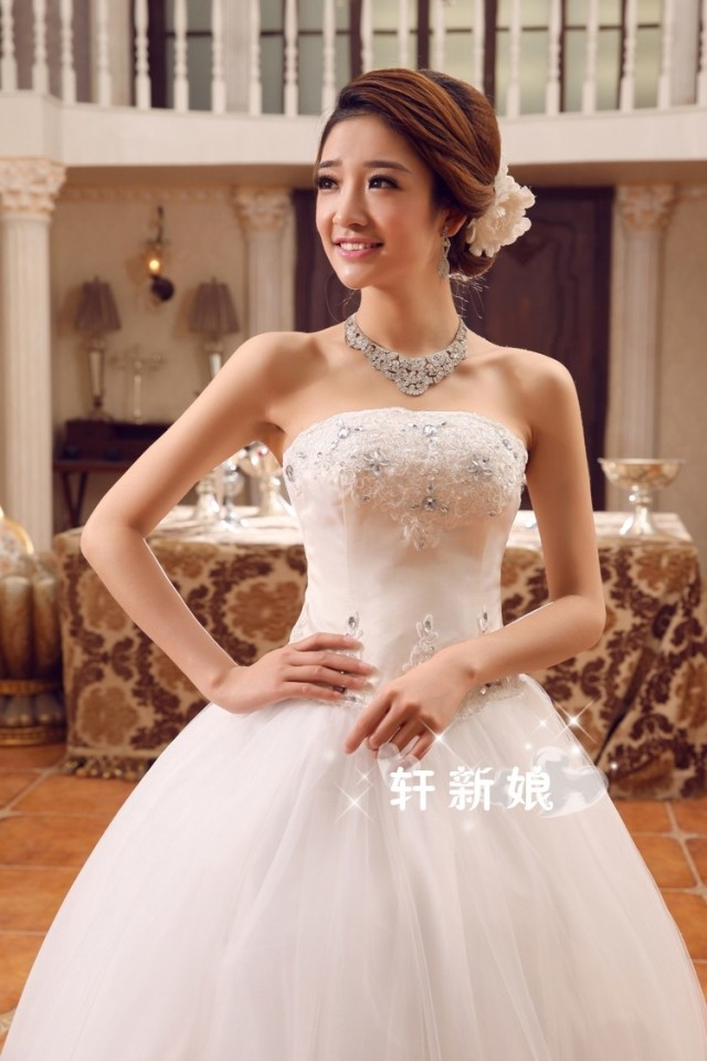 Cheap strapless wedding dresses bridal gowns with bows for Cheap wedding dresses ebay