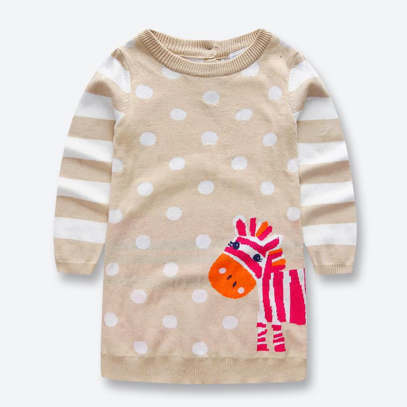 Spring Autumn Baby Girls Knitted Dress Long Sleeve Kids