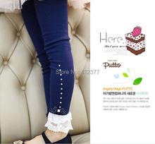 Hot selling 2015 Spring flower girl pants baby girl leggings kids cotton fashion legging children autumn