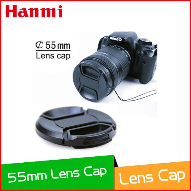 55mm Center Pinch Snap-on Front  Lens Cap Cover with Anti-lost rope for    Canon Casio Minolta Pentax Sigma Nikon camera Lenses