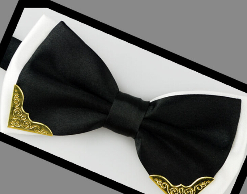 New Arrival Formal Commercial Solid Color Neckties Prom Metal Bow Tie for Man British Style Cravat
