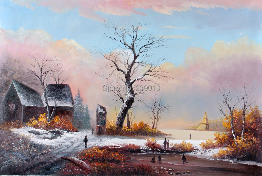 item free shipping wall decor painting winter scenery oil canvas printed figure snowscape Oil Painting on