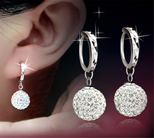Buy High Luxury Super Flash Full Bling Crystal Shamballa Princess Ball Silver Women Stud Earrings Party Jewelry DGS0001 for $1.07 in AliExpress store