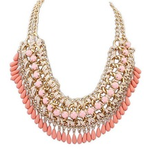 2015 Multilayer Statement Bohemian Resin Beads Collare Necklace Pendants Gold Plated Choker Chain Necklace For Women