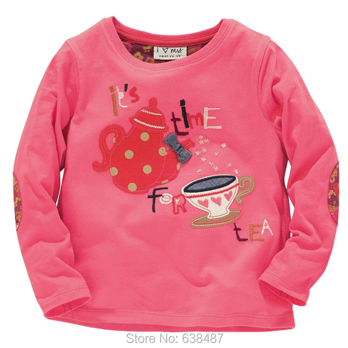 2016 Brand Quality 100% Cotton Baby Girls T-shirt Children Kids Clothing Clothes t Shirt Tees Long Sleeve Blouse - JK Store store