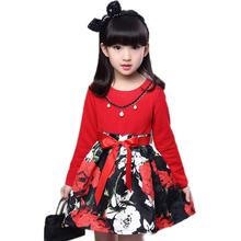 little girls dresses 2016 new spring big girl dress long sleeve princess dress girl floral printed patchwork girl vestido 5-11T