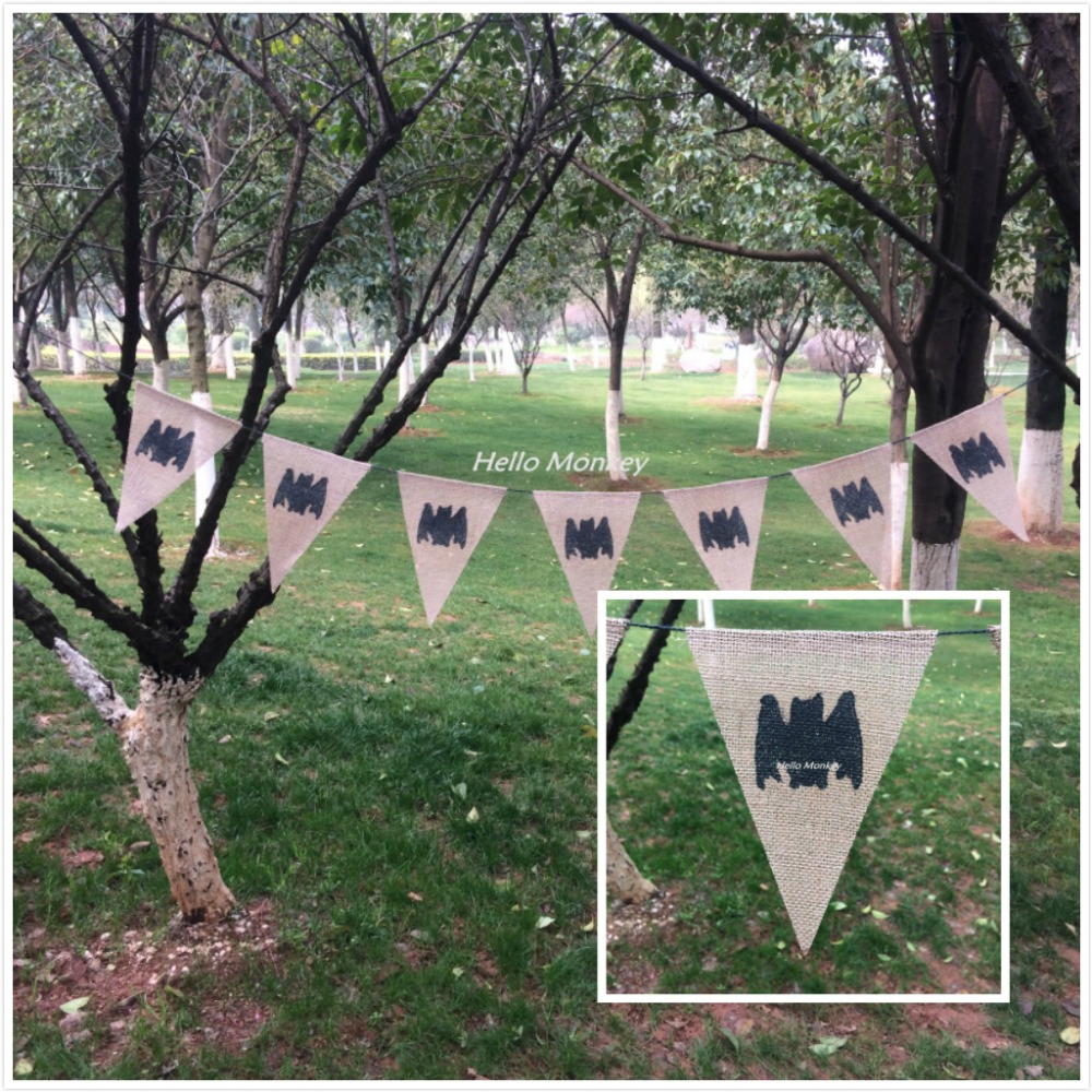 1.9M Rustic Burlap Hessian Bat Bunting Banner Halloween Party Hanging Decor Wedding Party Baby Shower Decoration(China (Mainland))
