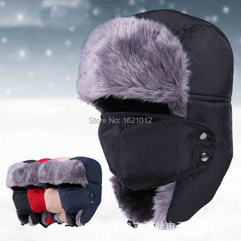 Northeast winter camo bomber Hats thick warm Snow Hats for Earcap Men and Ladies Windproof Cap with Removable Earmuffs