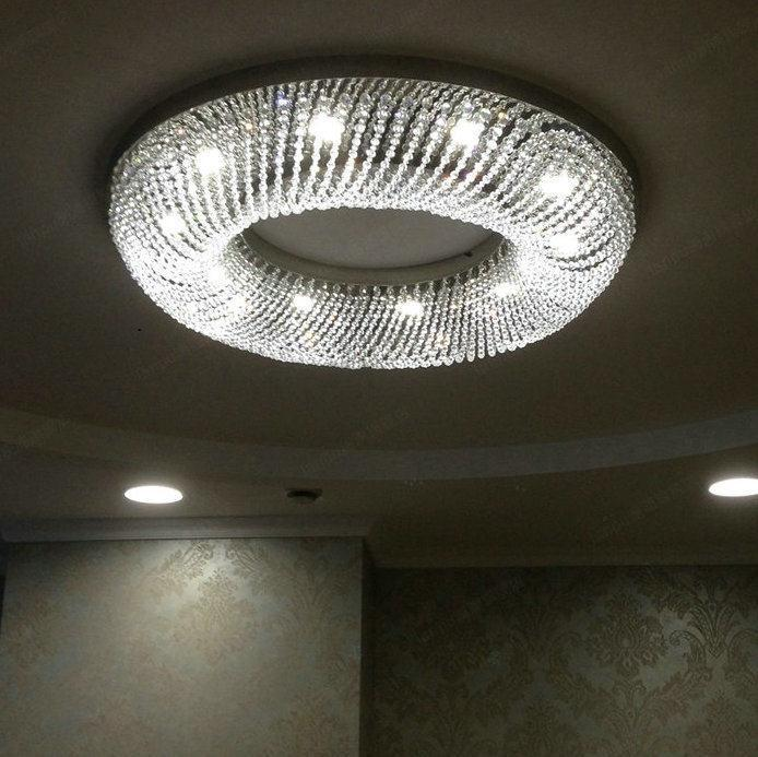 modern crystal ceiling lamp luminaire round living room