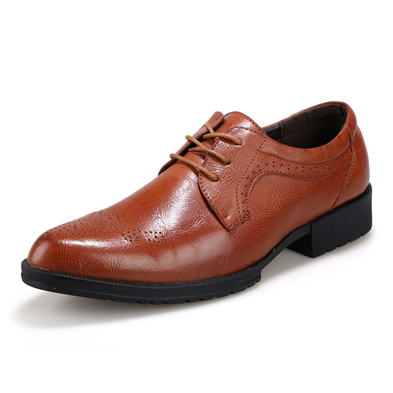 2015 Brown Vintage Genuine Leather Oxford Shoes For Men Pointed Toe Men Brogue Shoes Flats ...