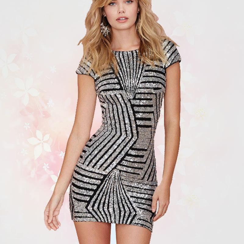 Online Get Cheap Sequin Silver Round Neck Dress -Aliexpress.com ...