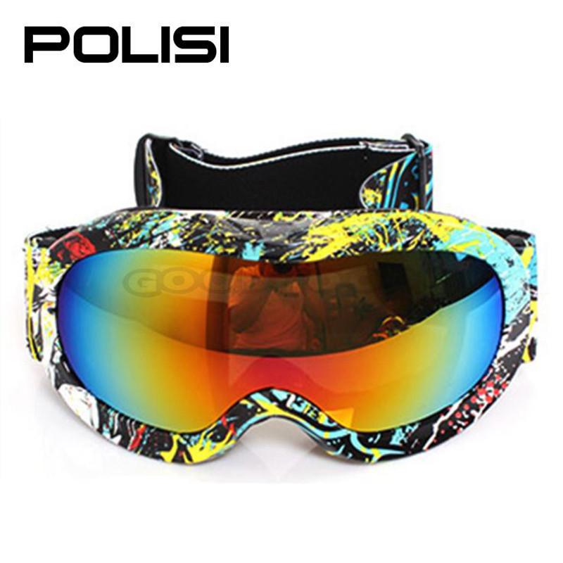 hot sale new POLISI P817-YE snowboard glasses woman Sun Goggles Children Kids Sled Skate Sports Anti-Fog UV400 Free Shipping(China (Mainland))