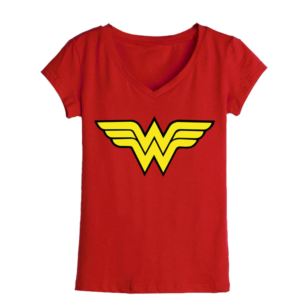 Wholesale women t shirts woman logo comics printed v neck for Printable t shirts wholesale