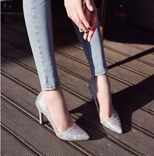 2015 autumn new Women high-heeled sequined wedding shoes thin heel Pointed pumps 129 - Hangzhou Dolda Tech. Co., Ltd. store