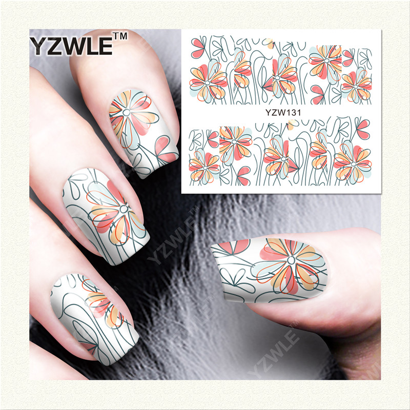 YZWLE 1 Sheet DIY Designer Water Transfer Nails Art Sticker / Nail Water Decals / Nail Stickers Accessories (YZW-131)(China (Mainland))