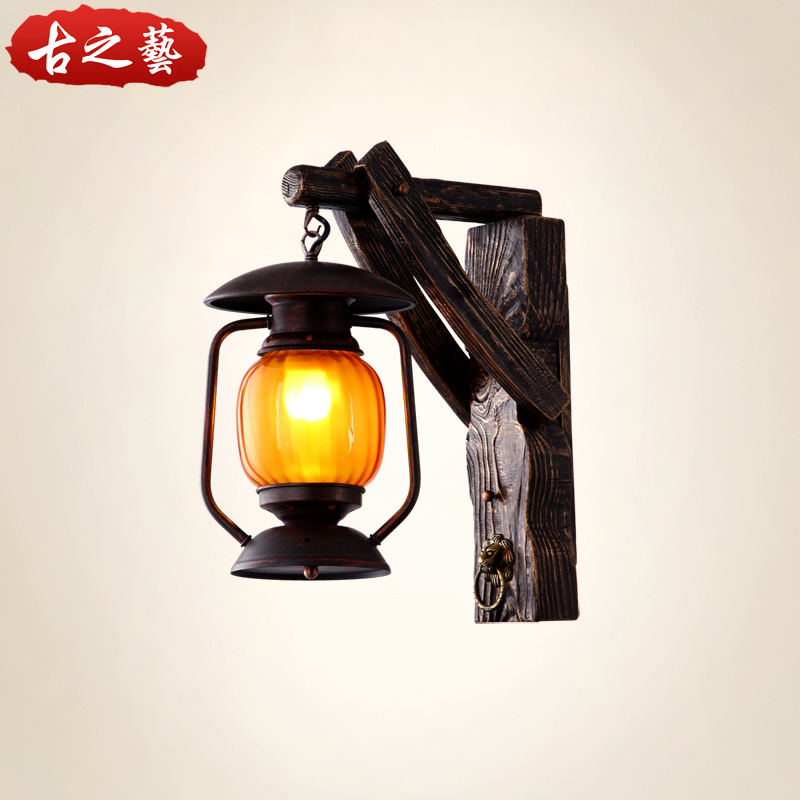 American rural countryside creative personality vintage wood wall sconce lamp bar restaurant Chinese antique lamp aisle lights z(China (Mainland))