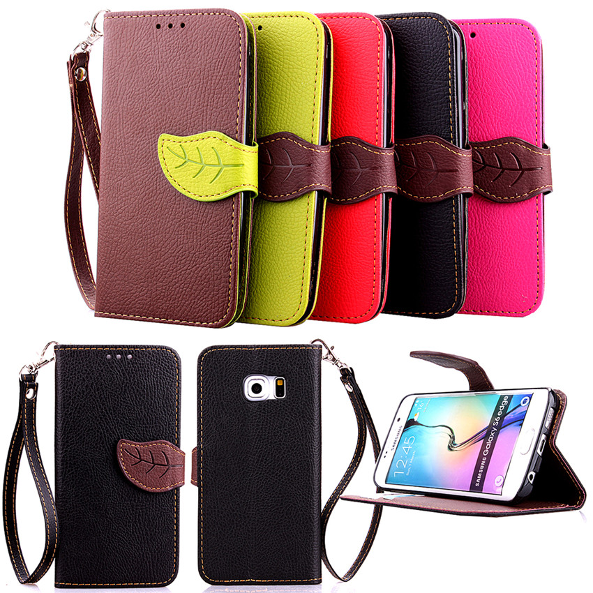 Elegant Leaf Design PU leather Wallet Case For Samsung GALAXY S6 Edge Wallet Card Holder stand Flip Mobile Phone Bags cover(China (Mainland))